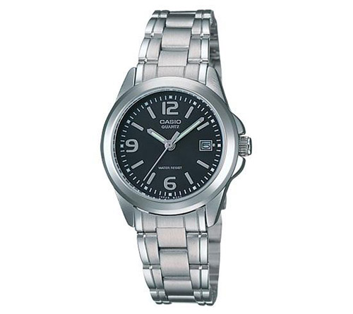 MTP-1183A-1A Casio Mens Classic Quartz Silver Band Black Dial
