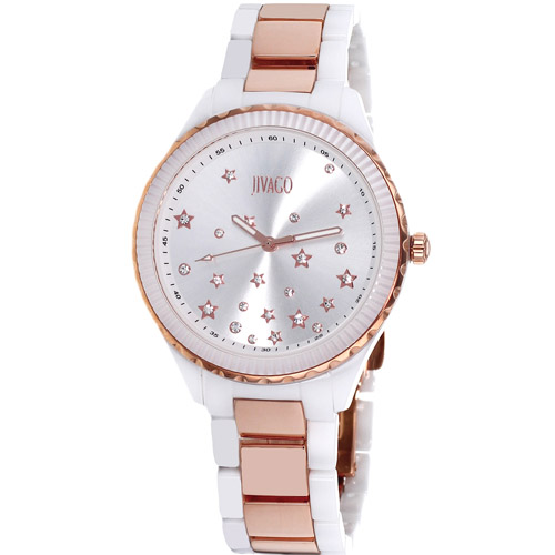 JV2414 Jivago Womens Sky Two-tone White Rose Gold Band Silver Dial