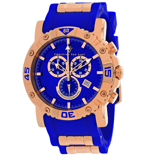CV0513 Christian Van Sant Mens Cosenza Quartz Blue Band Blue Dial