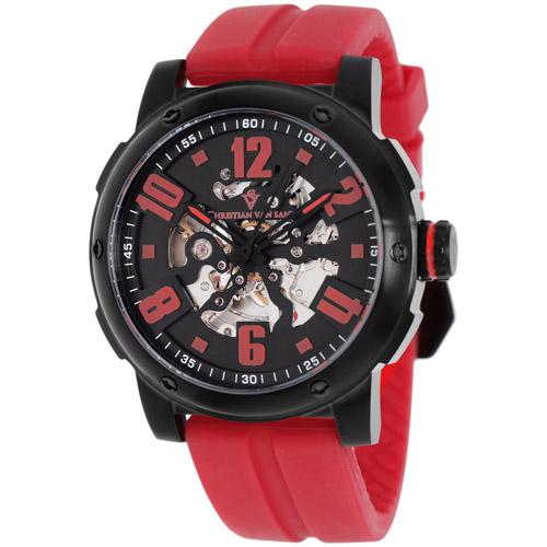 CV6132 Christian Van Sant Mens Skeleton Automatic Red Band Black Skeleton Dial