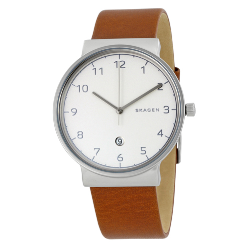 SKW6292 Skagen Mens Ancher Brown Band Silver Dial