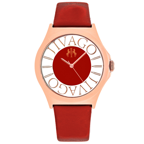 JV8436 Jivago Womens Fun Swiss  Quartz  Red Band Pink Dial