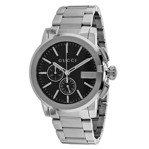 YA101204 Gucci Mens G-Chrono YA101204 silver Band Black Dial