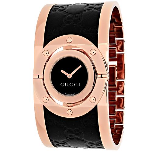 YA112438 Gucci Womens Twirl YA112438 Quartz Rose gold black Band Black Dial