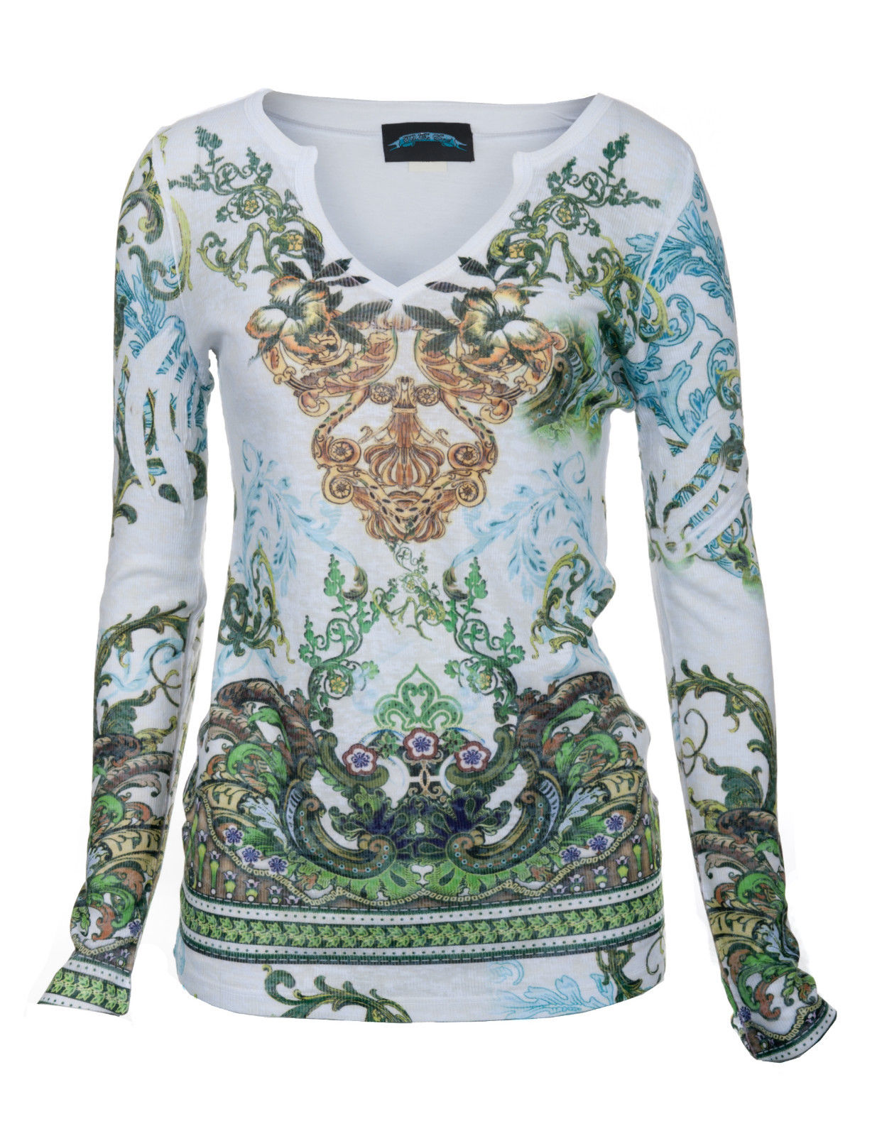 TTEVL04 Till the End Womens White Earth Print Long Sleeve 100% Cotton Blend Top