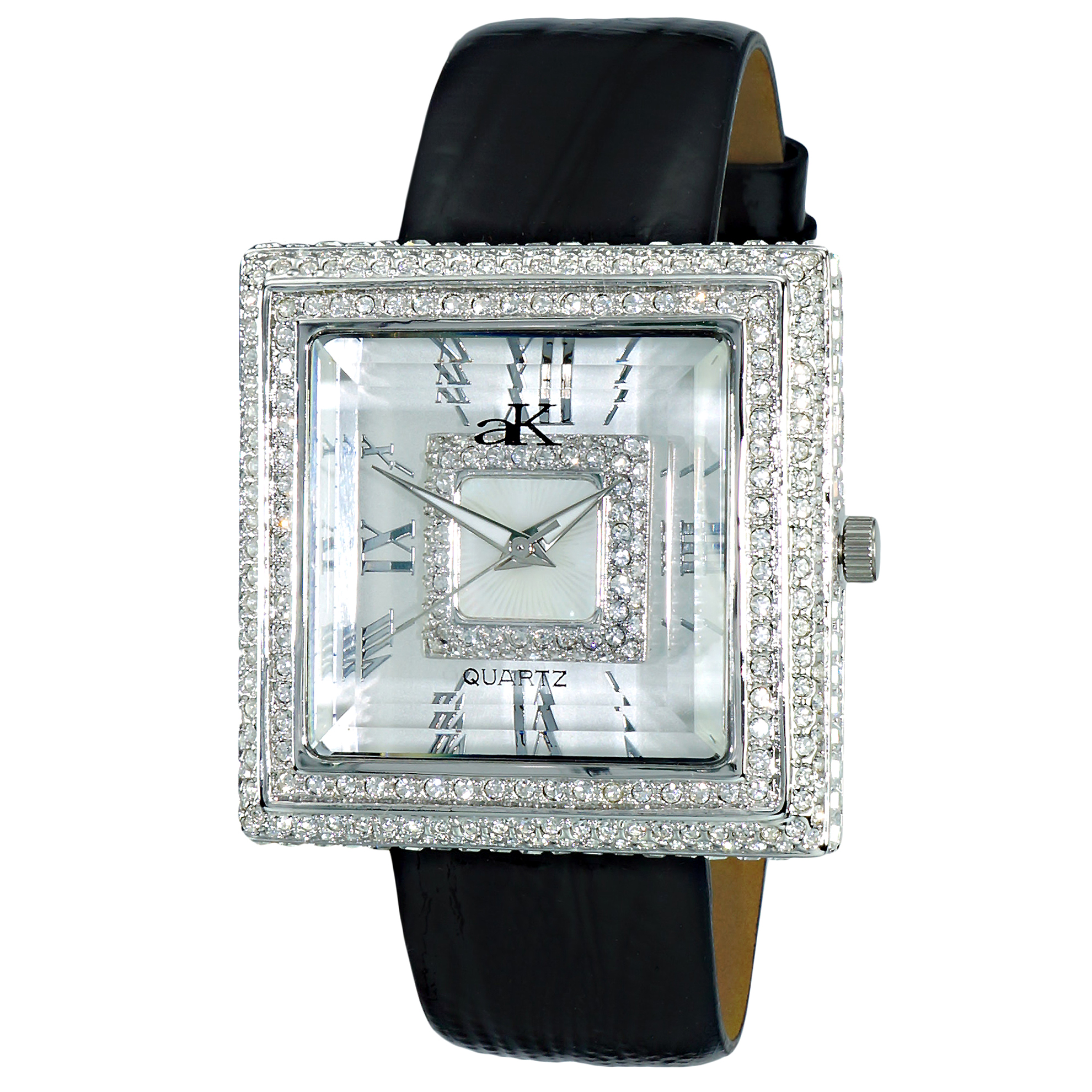 Adee Kaye AK25-L Adee Kaye Ladies Milan Collection 370 Austrian Crystals White MOP Dial Black Leather Band