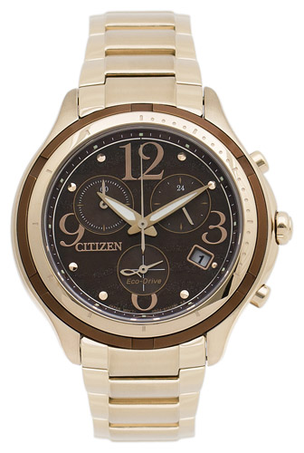 FB1372-55W Citizen Womens Eco-Drive  Quartz Gold Band Brown Dial