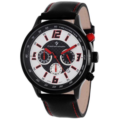 CV3122 Christian Van Sant Mens Speedway Black Band Silver/Red Dial