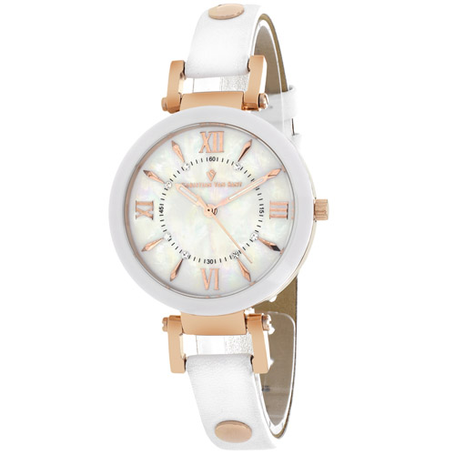 CV8163 Christian Van Sant Womens Petite Swiss  Quartz White Band White MOP Dial