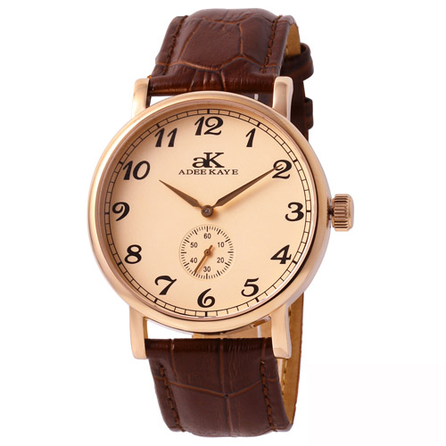 Adee Kaye AK9061-MRG-RG Adee Kaye  Mens Vintage Mechanical    Brown Band rose gold Dial
