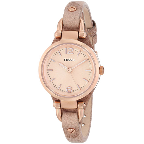 ES3262 Fossil Womens Georgia Mini Light Brown Band Rose Gold Dial