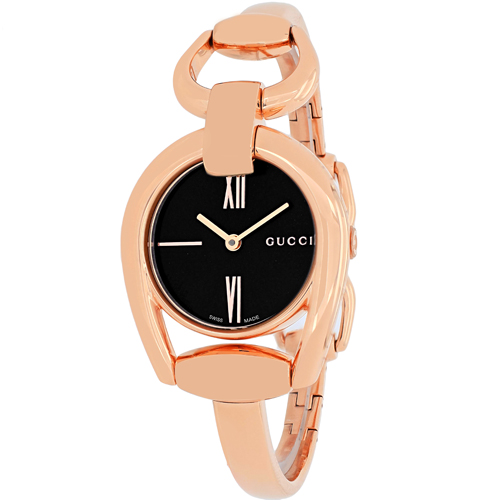YA139507 Gucci Womens Horsebit YA139507 Rose gold Band Black Dial