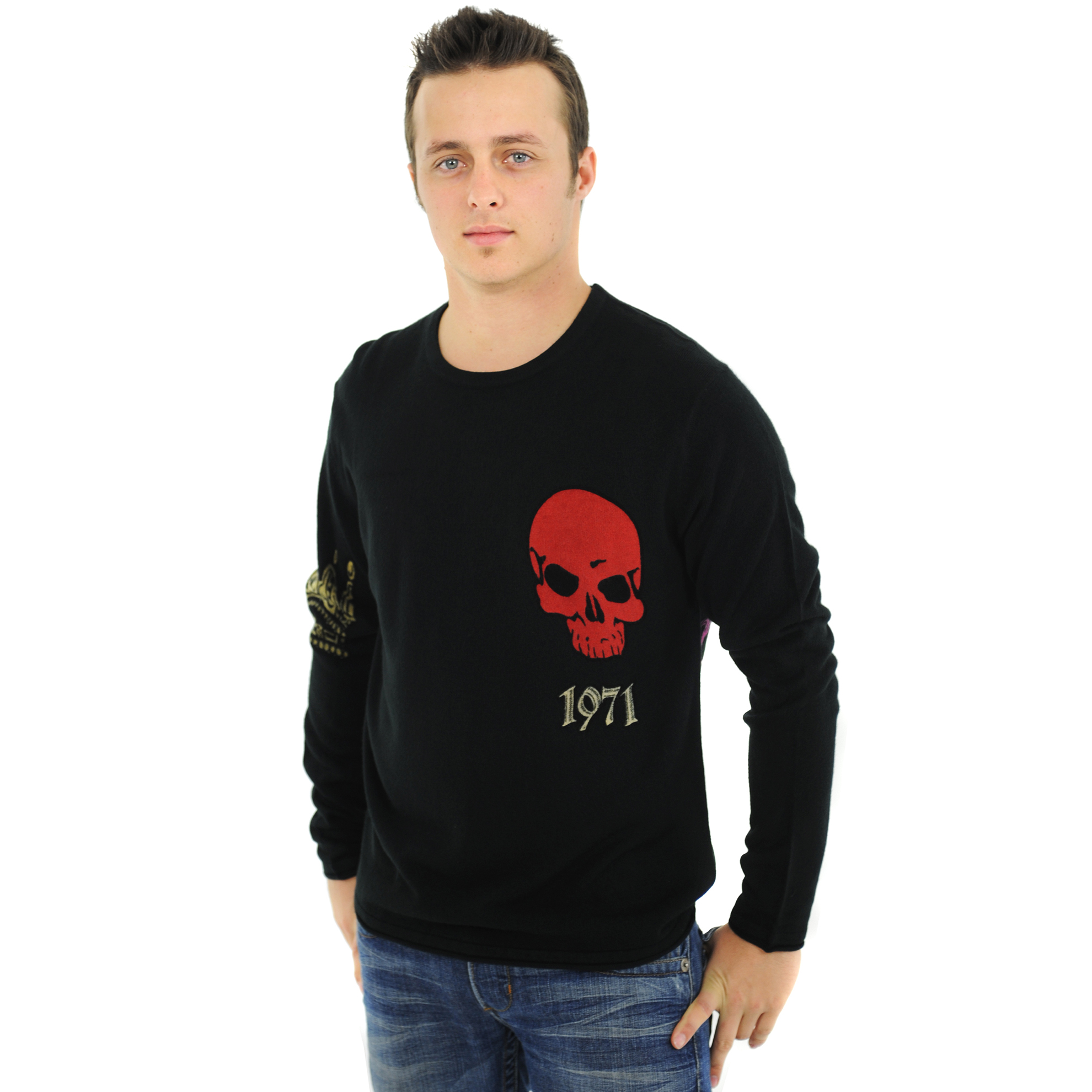 RAW-7 G09H03-LION RAW7 Men's 100% Acrylic Crewneck Sweater Lion Design - Black