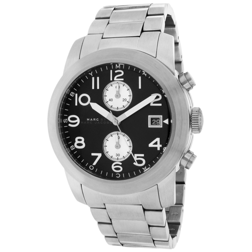 MBM5050 Marc Jacobs Mens Larry Sillver Band Black Dial