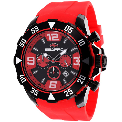 SP1127 Seapro Chronograph Diver Black IP Black/Red Dial Red Silicone Strap