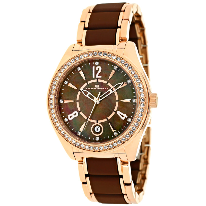 OC5411 Oceanaut Womens Pearl Two-tone Rose Gold Chocolate brown Band Brown Mother of Pearl Dial