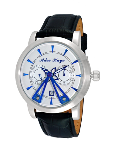 AK8871-SVBU Adee Kaye Mens Dome Collection Seagull 18 jewel automatic-multifunction Silver tone Blue Band White Dial