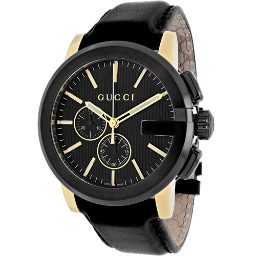 YA101203 Gucci Mens G-Chrono YA101203 Black Band Black Dial