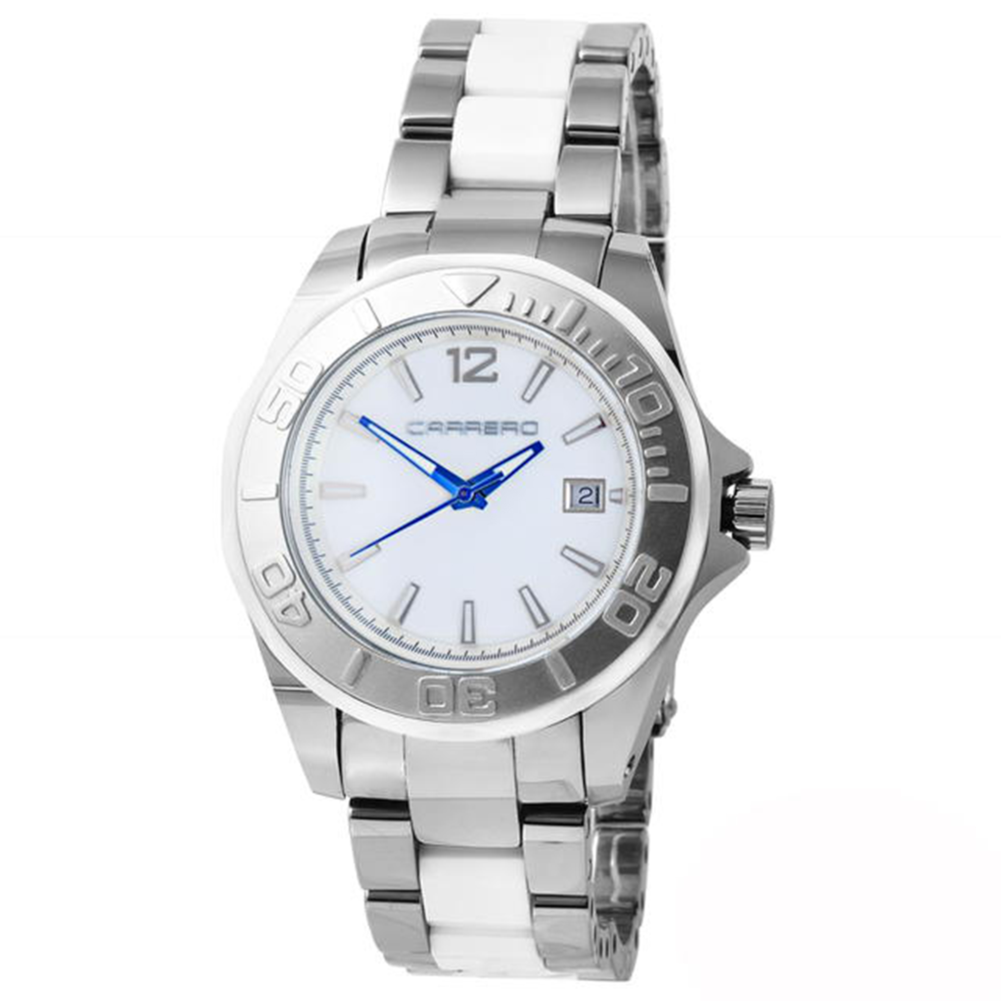Carrero C012-B Carrero Special Edition Tungsten and Ceramic Diver Two-Tone White Dial