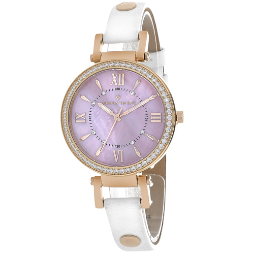 CV8133 Christian Van Sant Womens Petite Swiss  Quartz White Band Pink MOP Dial