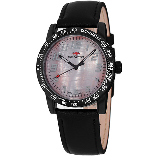 SP5211 Seapro  Womens Bold Black Band Pink MOP Dial