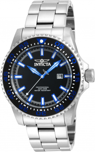 90190 Invicta Mens Pro Diver  Steel Band Black Dial