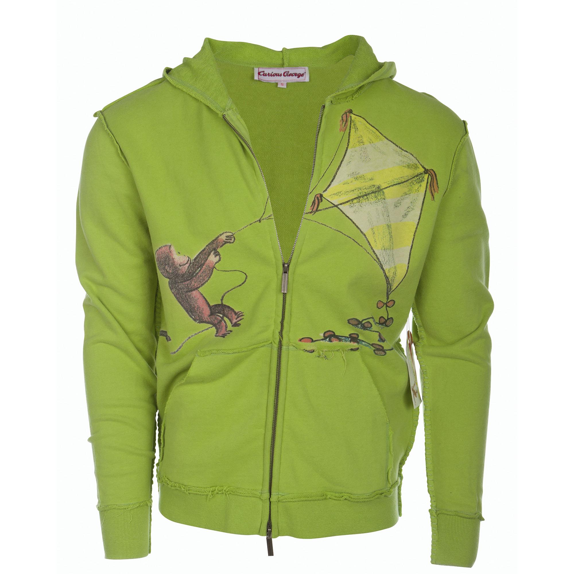 Curious George SWSRT232-GREEN Curious George Men's Green Zip Hoodie Kite Design