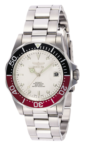 9404 Invicta Mens Pro Diver  Steel Band White Dial