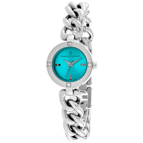 CV0212 Christian Van Sant Womens Sultry Swiss parts Quartz Silver Band Blue Dial