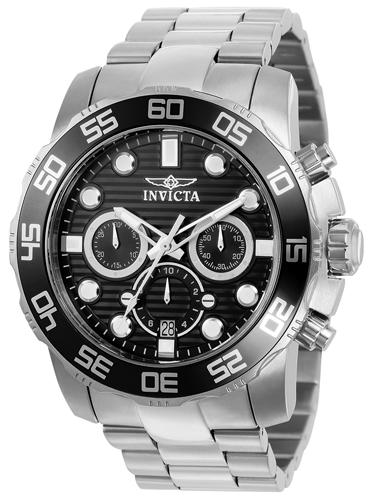 22226 Invicta Mens Pro Diver  Steel Band Black Dial