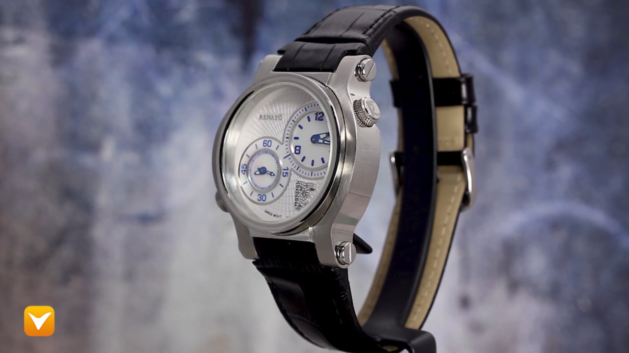 Renato DUG-Silver Renato Limited Edition Gent's Two in One Swiss Movement White MOP Dial with Diamonds