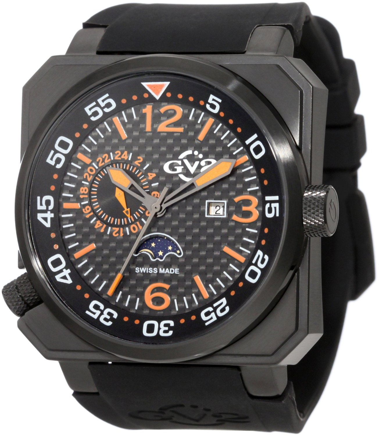 GV2 by Gevril 4512 GV2 Limited Edition Submarine Two-Time Zone Moonphase Carbon Fiber/Orange Dial