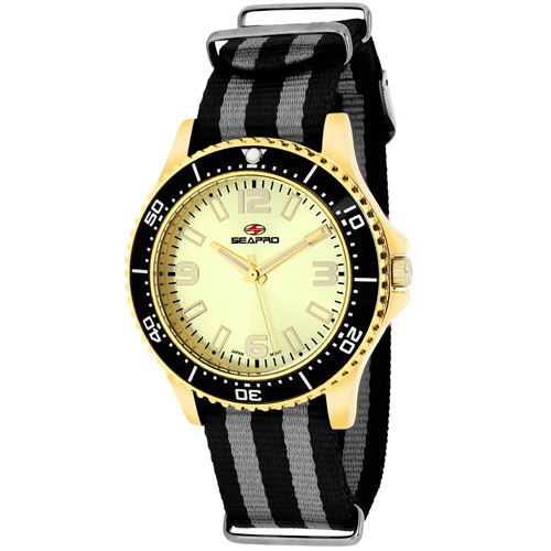 SP5419NBK Seapro Womens Tideway Black Grey Band Gold Tone Dial