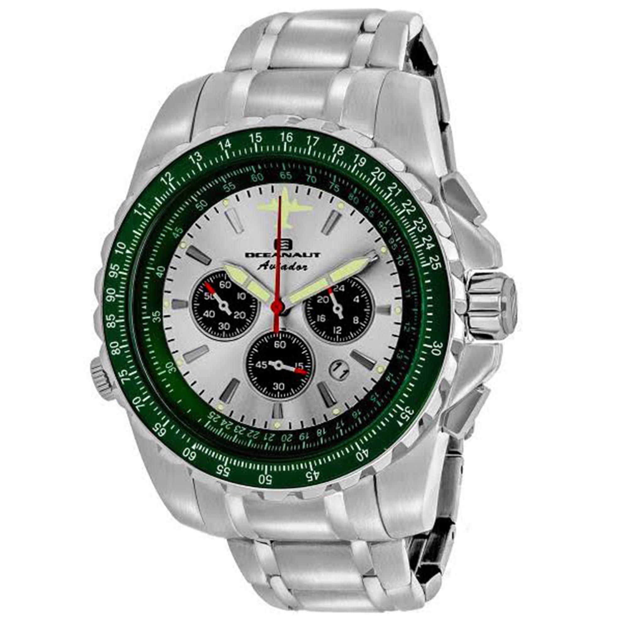 Oceanaut OC0117-SE Oceanaut Special Edition Aviador Chronograph Silver Dial Green Bezel