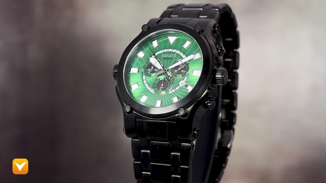 Renato 50CB-G-50CB-5040D Renato Robusto 50 Swiss Chronograph Black IP Green Dial