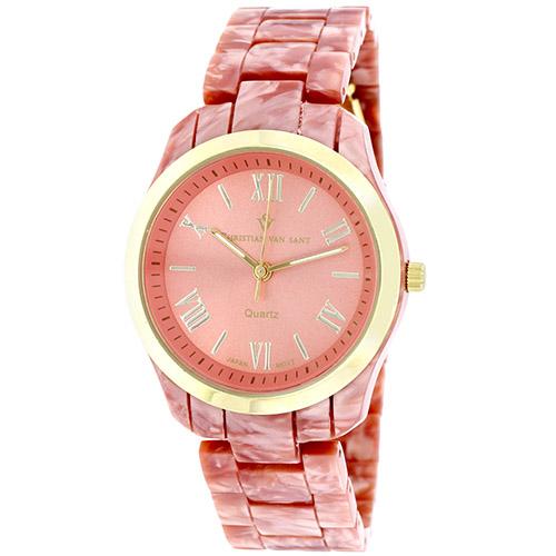 CV3413 Christian Van Sant Womens Granite Marble Pink Band Pink Dial