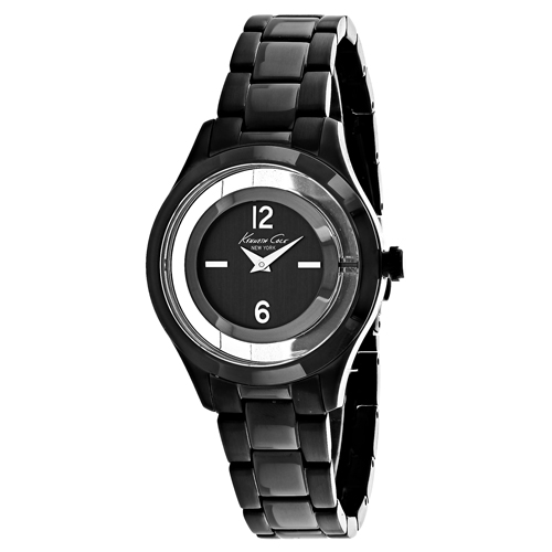 10026948 Kenneth Cole Womens Classic Black Band Grey Dial