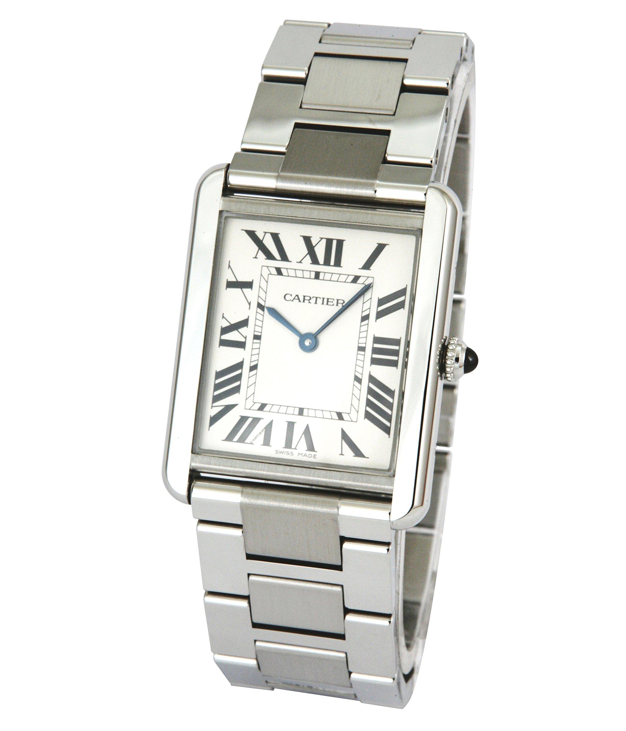 Cartier B00385X9WU B00385X9WU To US $2358, To UK £2288 Cartier Men's Tank Solo Steel Bracelet & Case Sapphire Crystal Quartz Silver-Tone Dial Watch W5200014