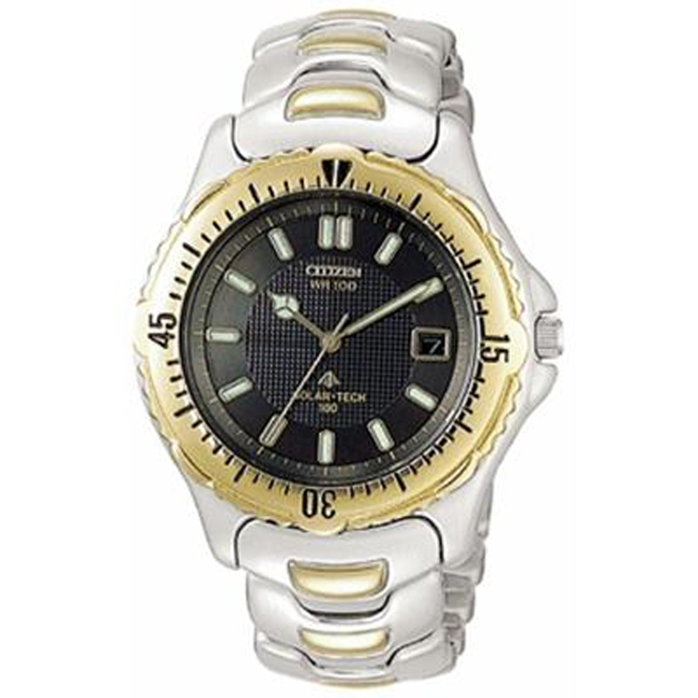 CitizenAP0384-56H Citizen men's Solar-Tech Watch Two Tone Black Dial Gold Case