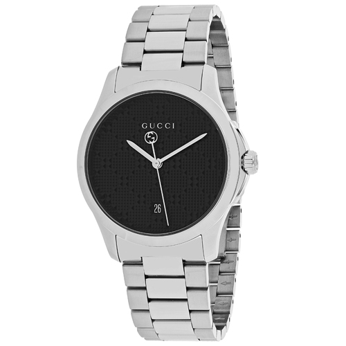 YA126460 Gucci Womens G-Timeless YA126460 Quartz Silver Band Black Dial