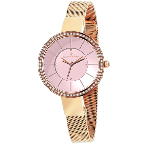 CV0223 Christian Van Sant Womens Reign Quartz Rose gold Band Pink Dial