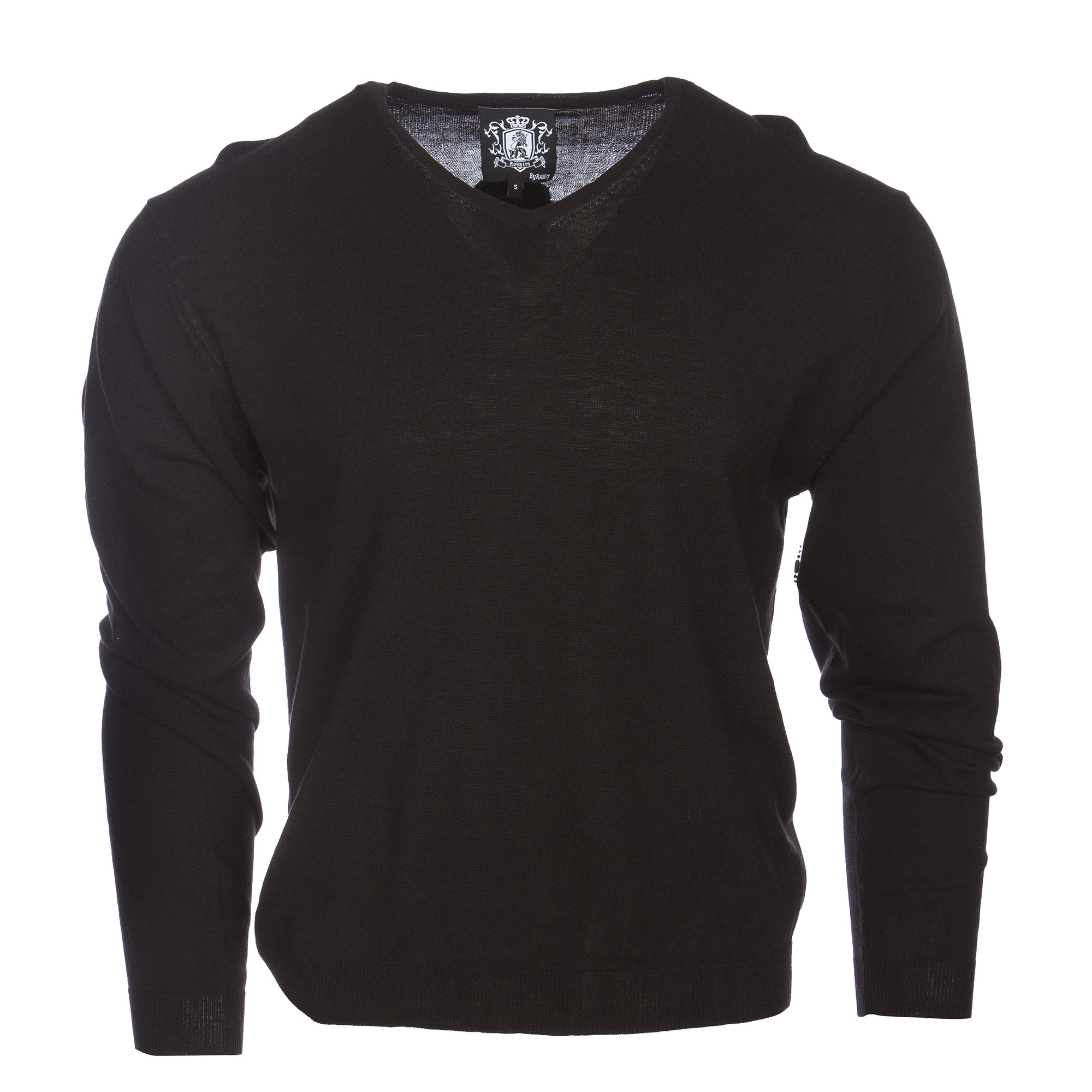 RAW 7 Y08A03S Royalty by Raw7 Men's Black V Neck Sweater Cross Design