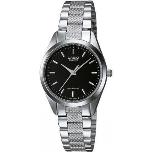 LTP-1274D-1A Casio Womens Classic Quartz Silver Band Black Dial