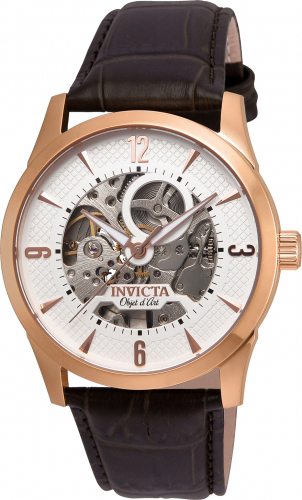 22637 Invicta Mens Objet D Art  Brown Band White Dial