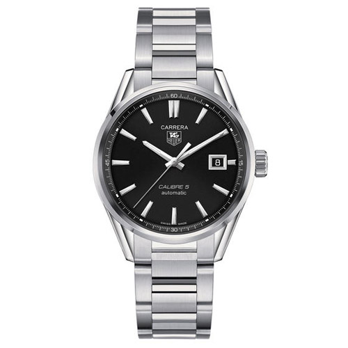 WAR211A.BA0782 Tag Heuer Mens Carrera WAR211A.BA0782 Silver Band Black Dial