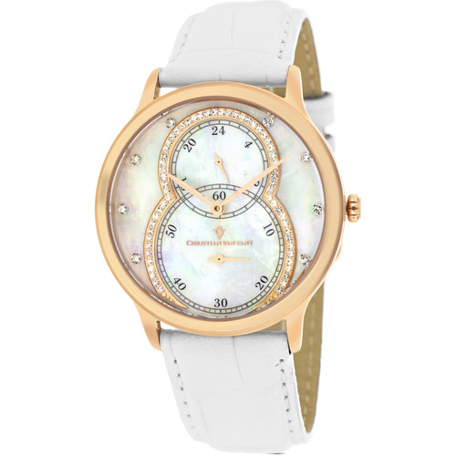 CV5411 Christian Van Sant Ladies Infinie Rose Gold White MOP Dial Leather Strap