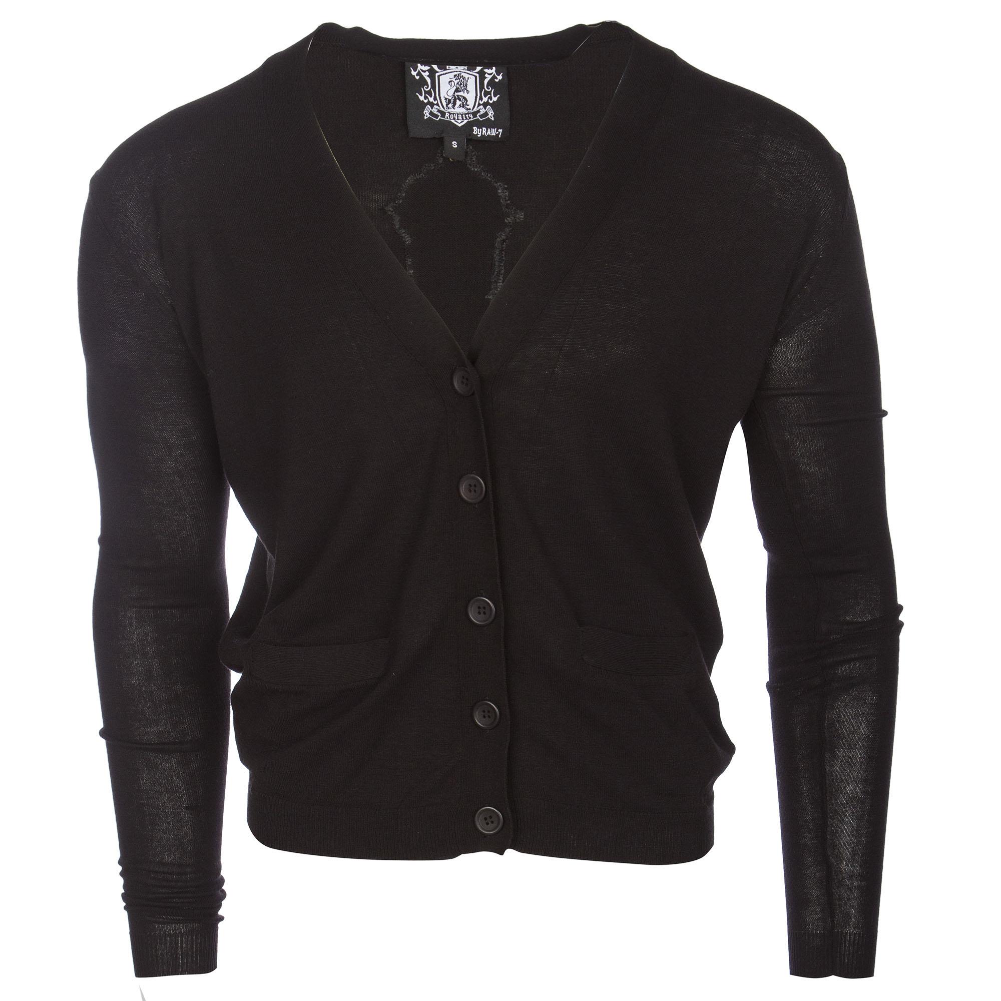 RAW 7 Y08A01S-BLACK Royalty by Raw7 Men's Black Cardigan Eagles Design