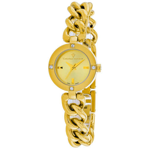 CV0215 Christian Van Sant Womens Sultry Swiss parts Quartz Gold Band Gold Dial