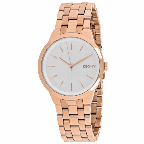 NY2383 DKNY Womens Park Slope Quartz Rose gold Band Silver  Dial