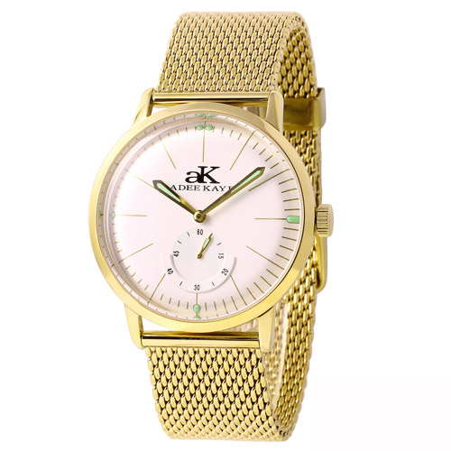 AK9044-MG Adee Kaye  Mens Adore   Gold Band white Dial
